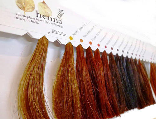 Henna hair dye color swatches to show the variations you can get from natural, plant-based hair dyes. These dyes are better for pregnant women.
