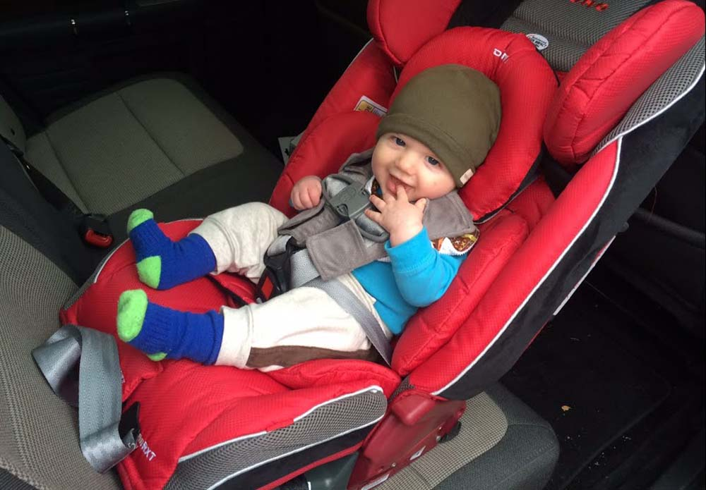 Diono Radian 3RXT Convertible Car Seat in Back of Car.